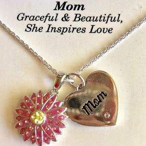 """""""Mom"""" Sterling Silver Charm Necklace Mother's Day"""